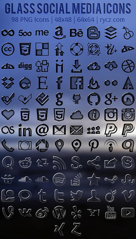 Free Glass Social Media Icons
